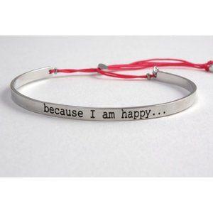 NWOT Les Cléias Because I Am Happy Silver Bracelet